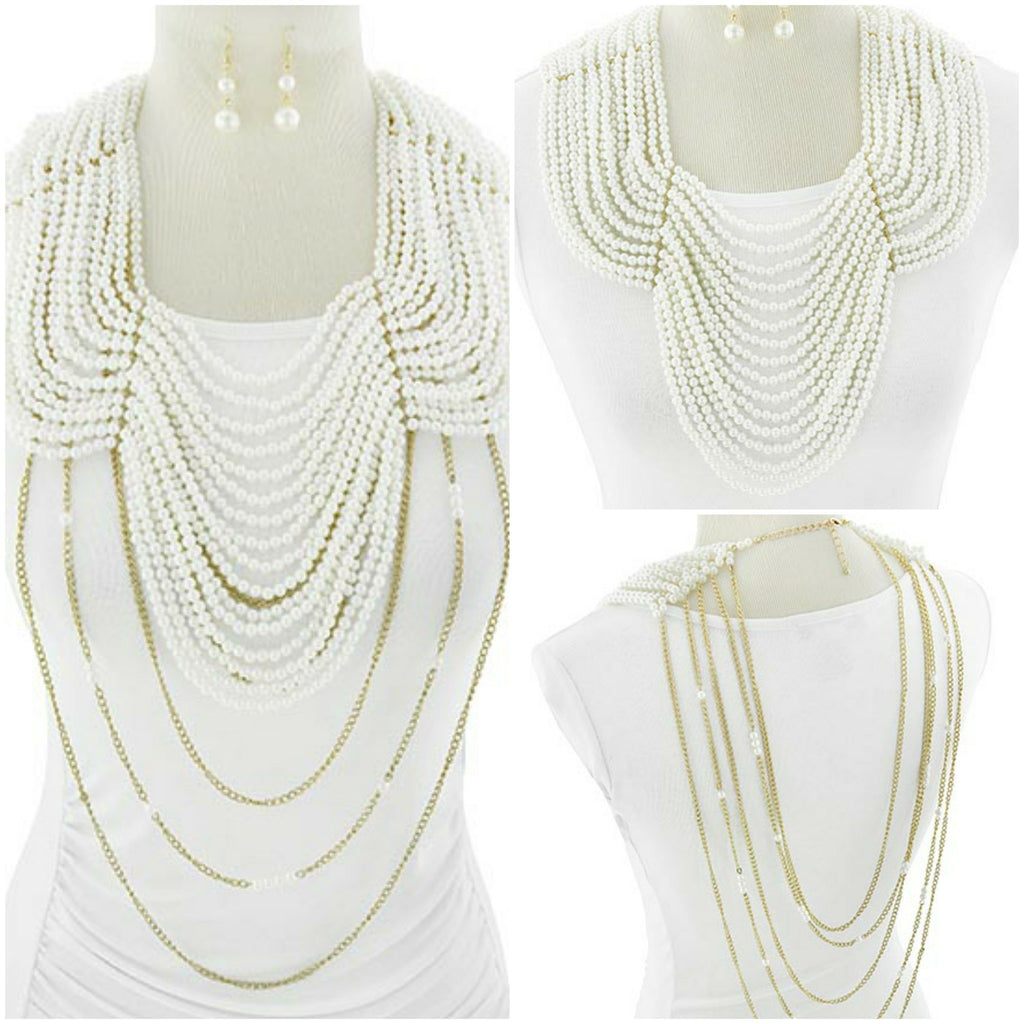 Reversible Pearl Necklace & Earring Set