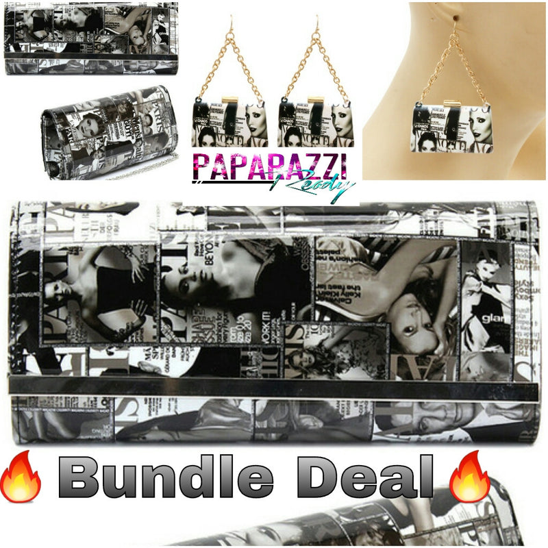 Magazine Clutch/W Matching Earrings (Bundle Deal)