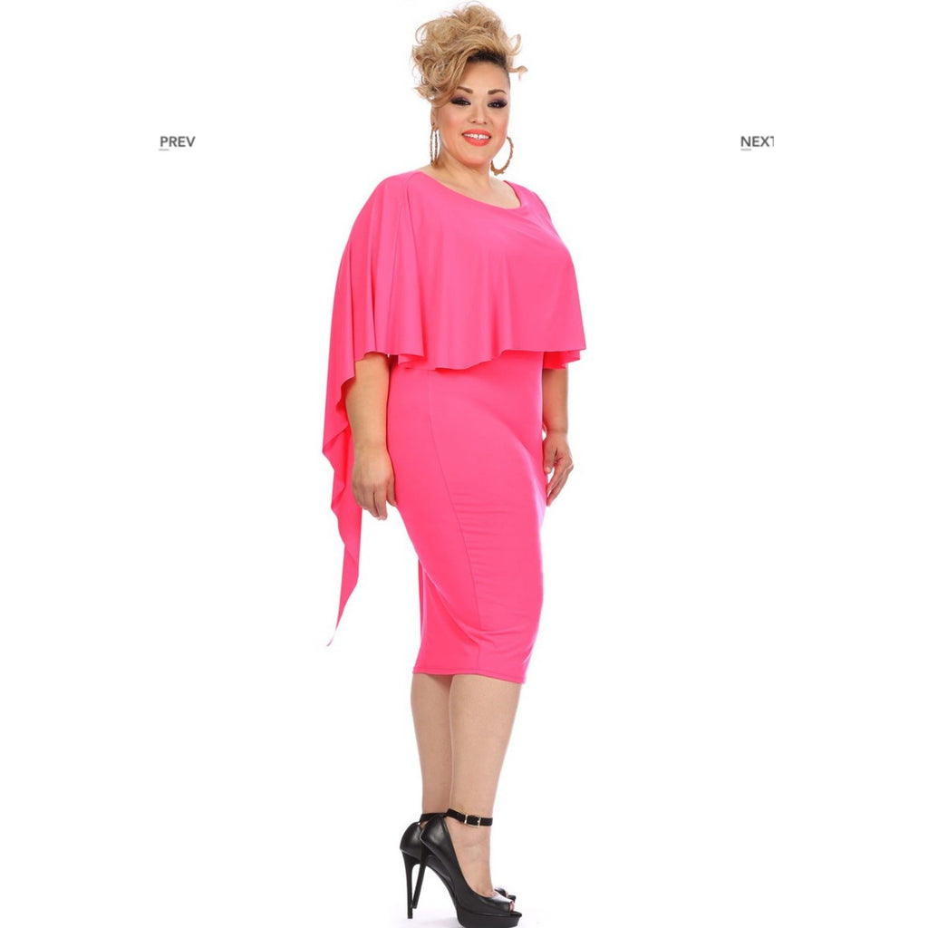 Neon Pink Cape Dress
