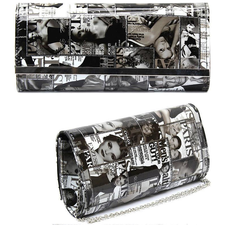 Magazine Clutch Handbag (Black/White)