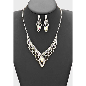 Rhinestone Scale V Necklace & Earring Set