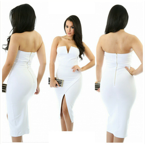 White Strapless dress, white dress, bodycon dress
