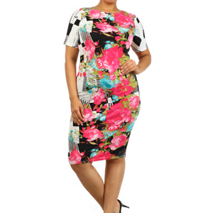 Floral Print Bodycon Dress (Plus Size)