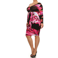 Abstract Peplum Dress