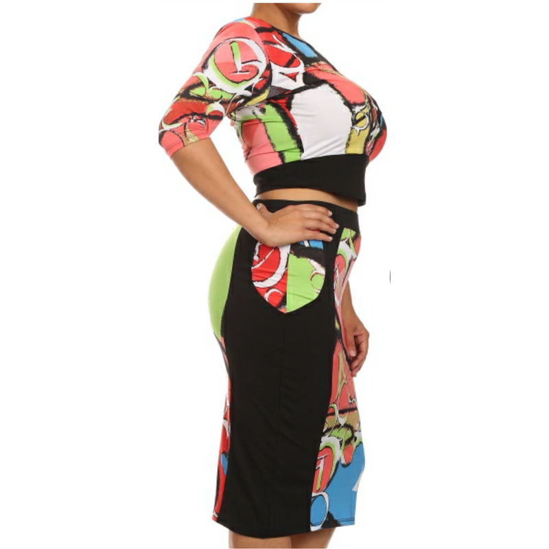 Two Piece Crop Top/Skirt Set (Plus Size)