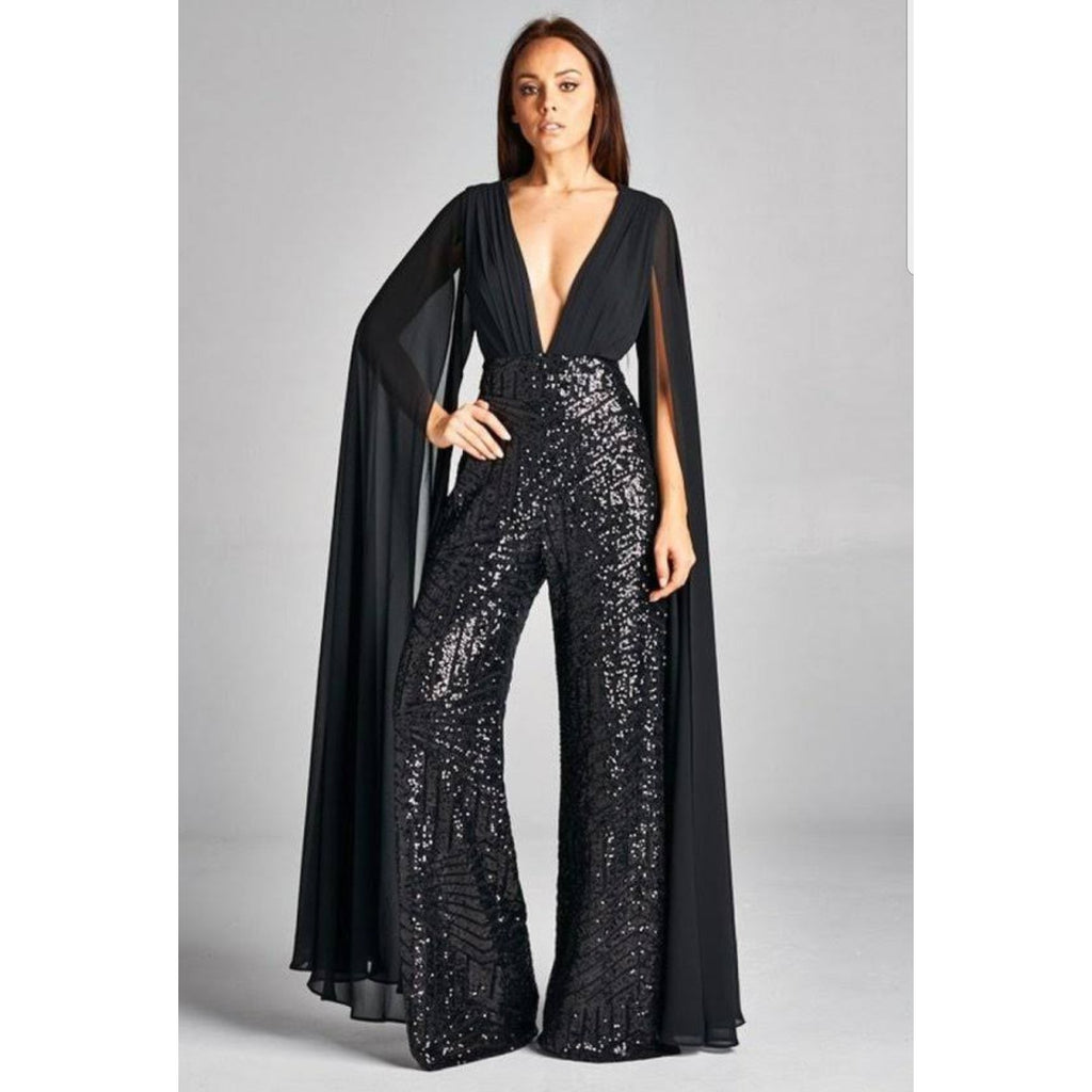 Catwalk Sequin Cape Jumpsuit