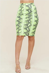 Faux Leather Neon Snake Print Skirt