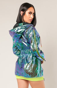 Holographic Hooded Jacket Dress
