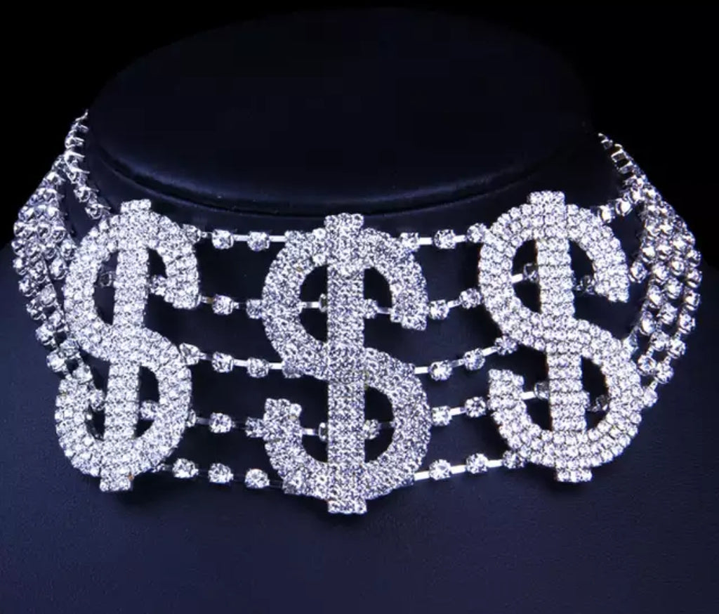 Money Talks Rhinestone Choker
