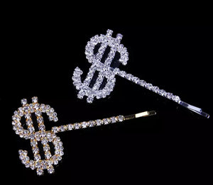 BLING MONEY HAIR PINS