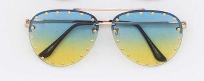 Ombre Studded Aviator Sunglasses