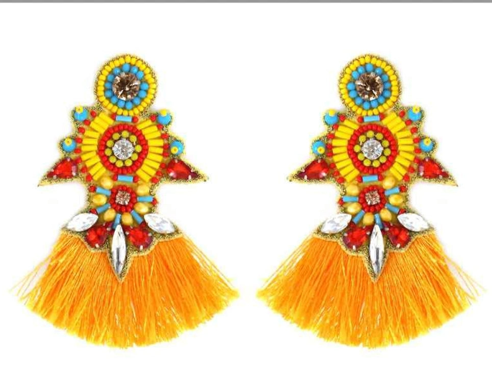 Tribal Bead Tassel Earrings
