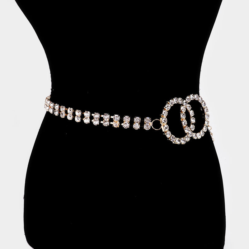 Rhinestone Double O Ring Belt