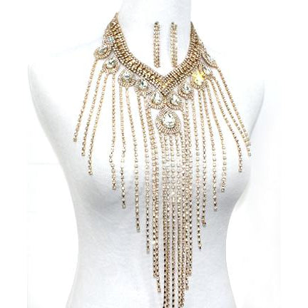 Rhinestone Teardrop Fringe Necklace Set