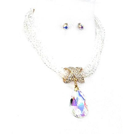 Crystal beaded teardrop Necklace Set