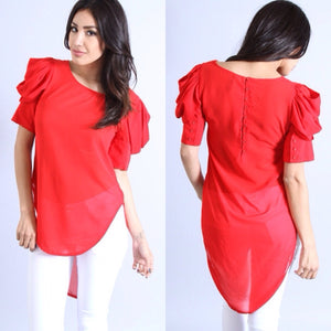 Ruffled Sleeve Chiffon Blouse (Red)