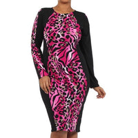 Magenta Zebra Print Bodycon Dress (Plus Size)