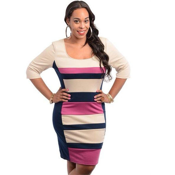 Striped Bodycon Dress (Plus Size)