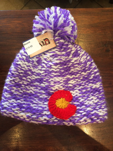 Purple Knit Colorado Flag Beanie