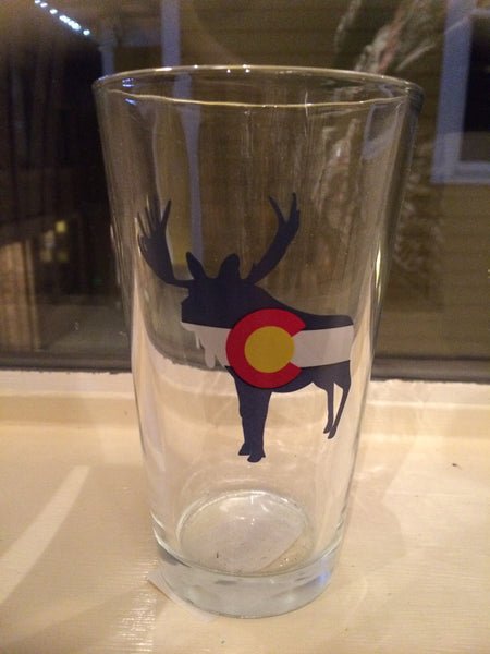 Moose Colorado Flag Pint Glass