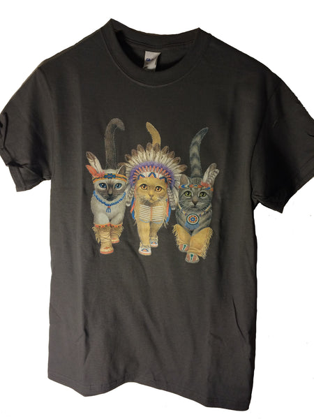 Native American Cats Tee Shirt