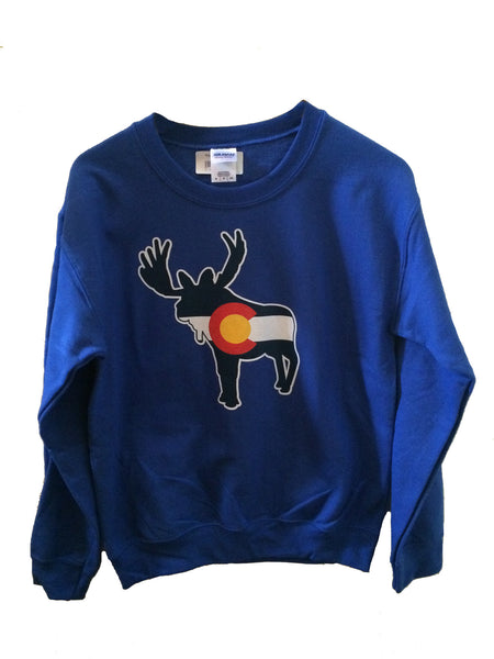 Colorado Flag Moose Crewneck