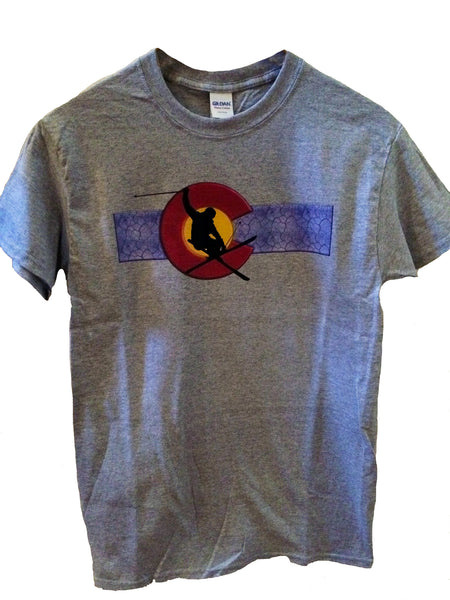 Colorado Flag With Skier Tee Shirt