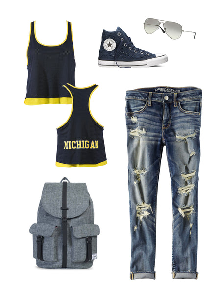 University of Michigan Double Layer Tank Casual Look