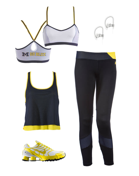 University of Michigan Double Layer Tank Workout Look