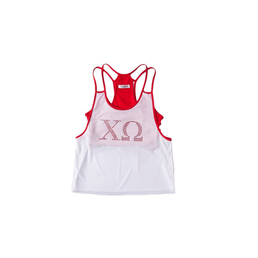 Chi Omega Mesh Tank with Rhinestones and Attached Sporty Bralette