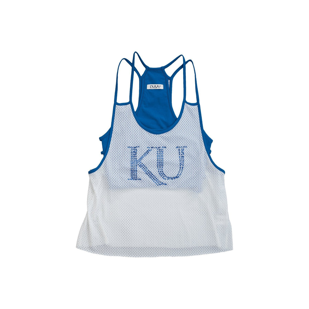 University of Kansas Mesh Tank with Rhinestones and Attached Sporty Bralette