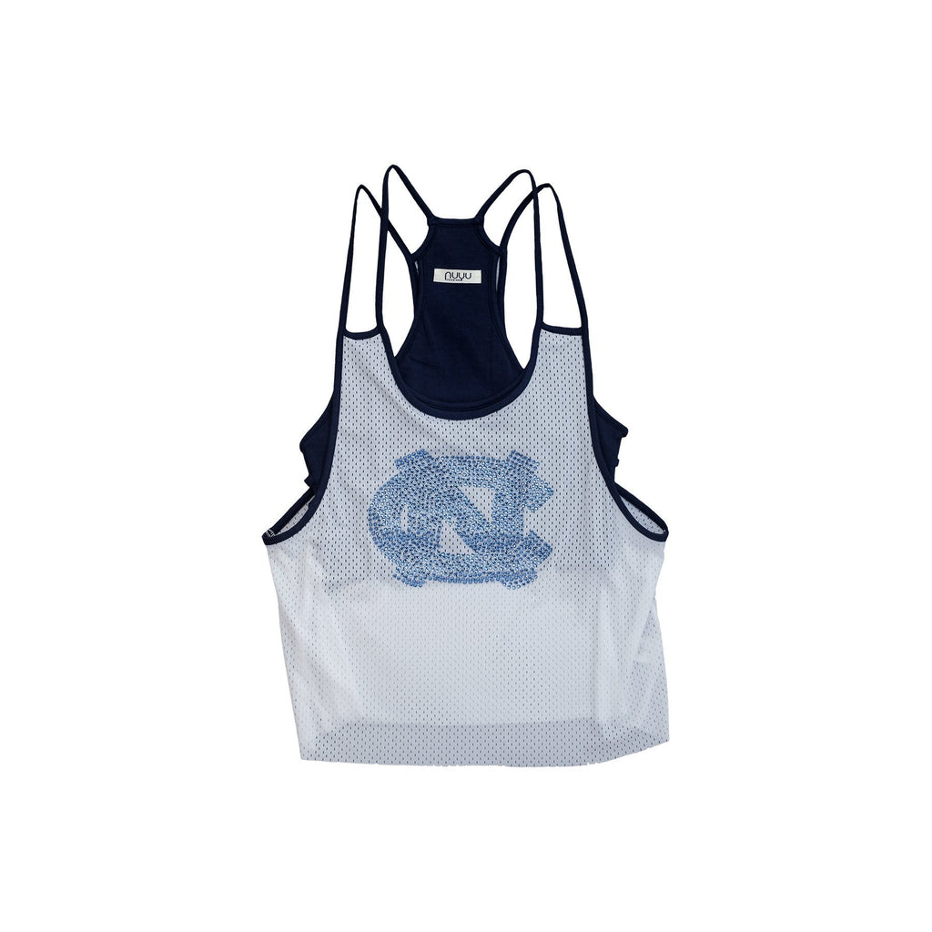 University of North Carolina Mesh Tank with Rhinestones and Attached Sporty Bralette