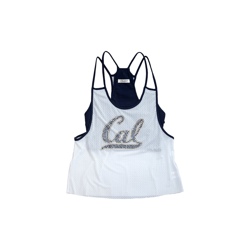 University of California, Berkeley Mesh Tank with Rhinestones and Attached Sporty Bralette