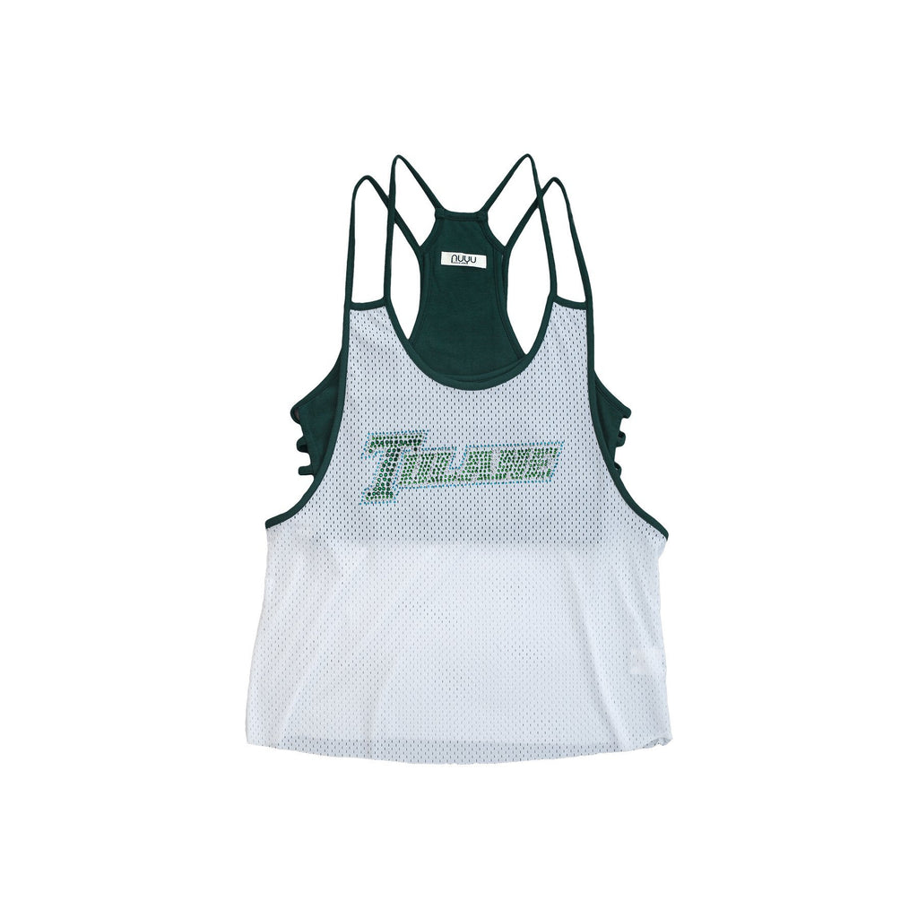 Tulane University Mesh Tank with Rhinestones and Attached Sporty Bralette