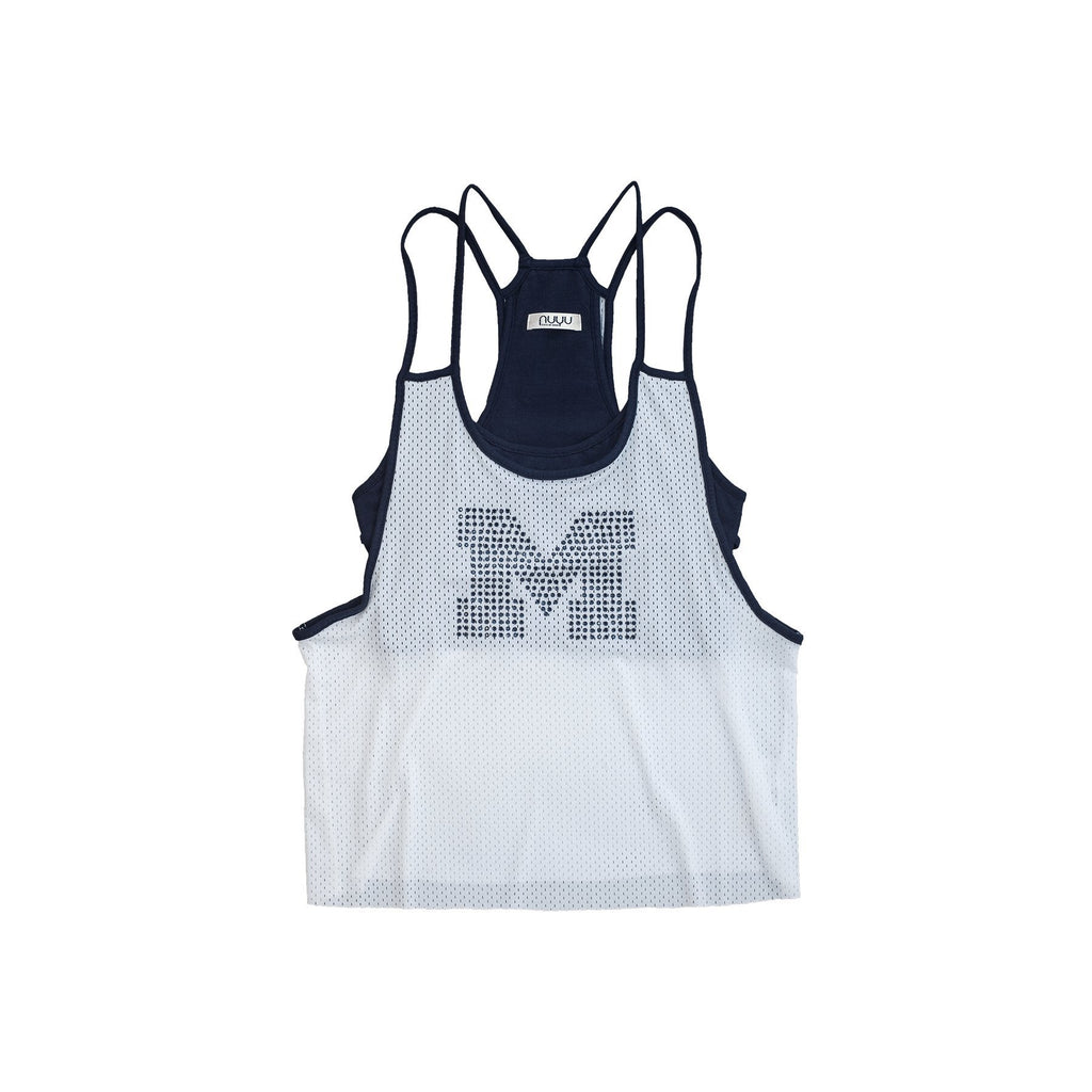 University of Michigan Mesh Tank with Rhinestones and Attached Sporty Bralette