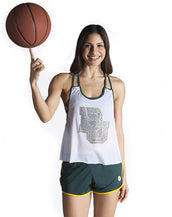 Baylor University Mesh Tank with Rhinestones and Attached Sporty Bralette