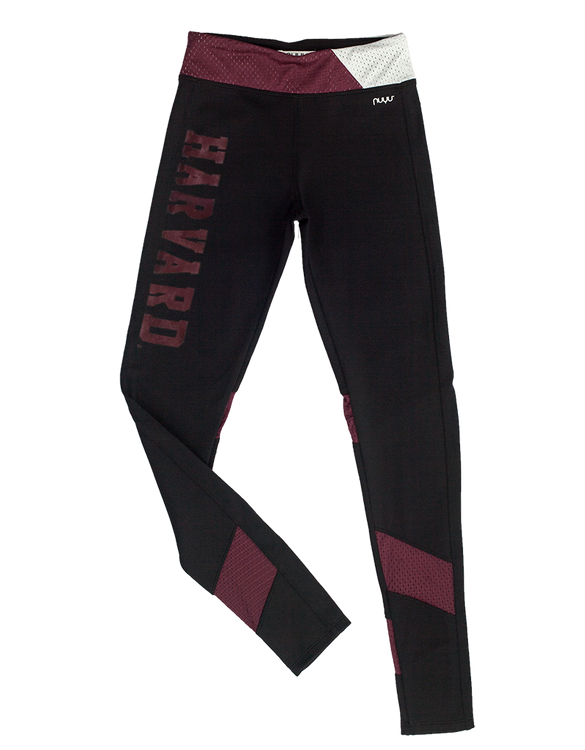 HARVARD Vintage Crimson Yoga Legging with mesh inserts