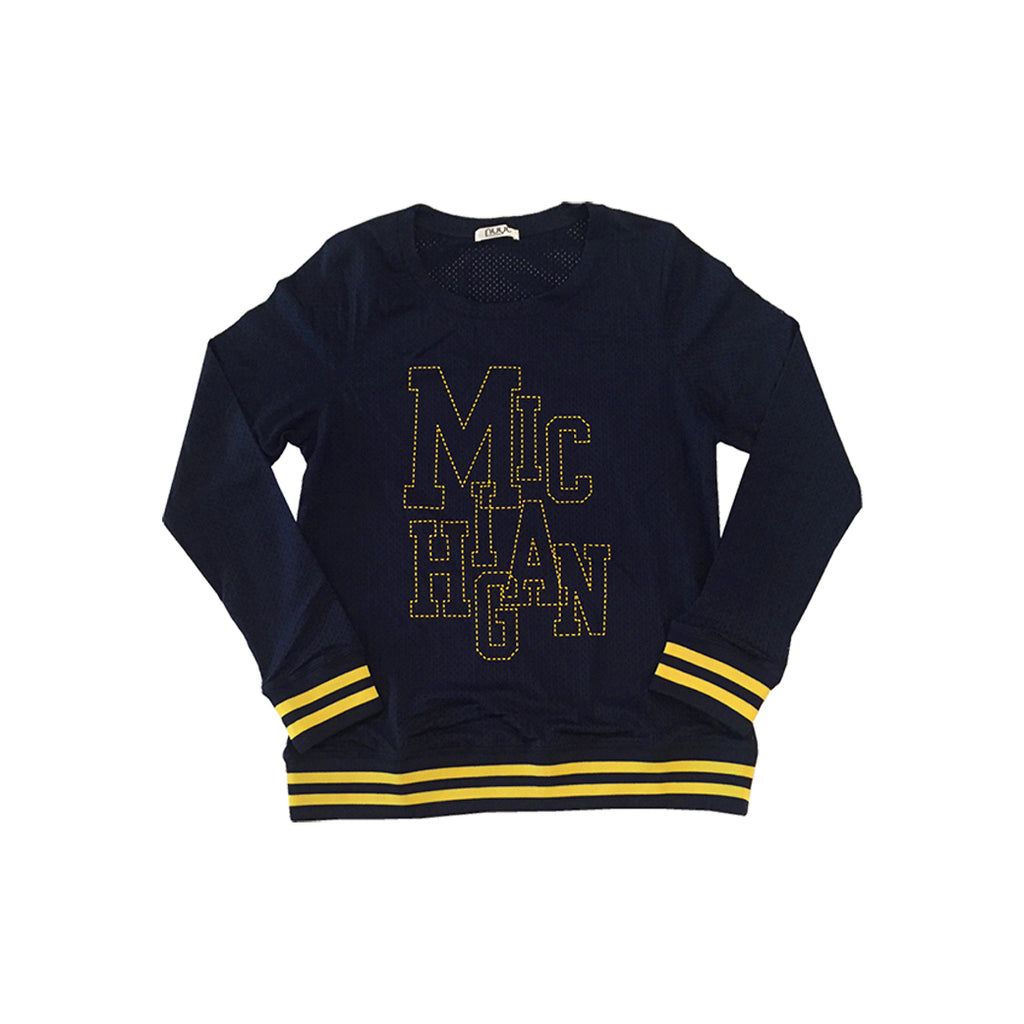 Michigan 'Stitched' Screenprint Mesh Top