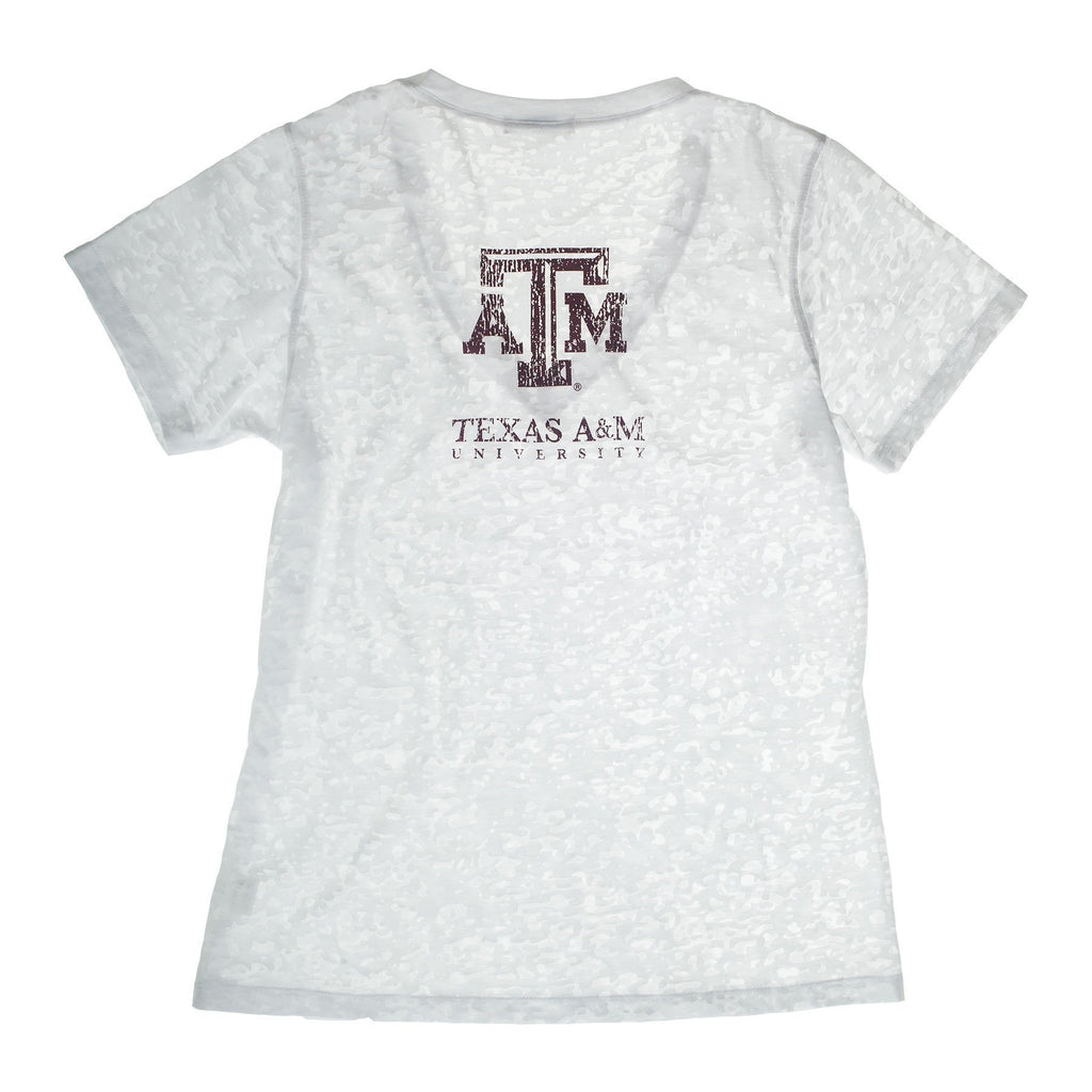 Texas A&M University Deep V-Neck Burnout Tee