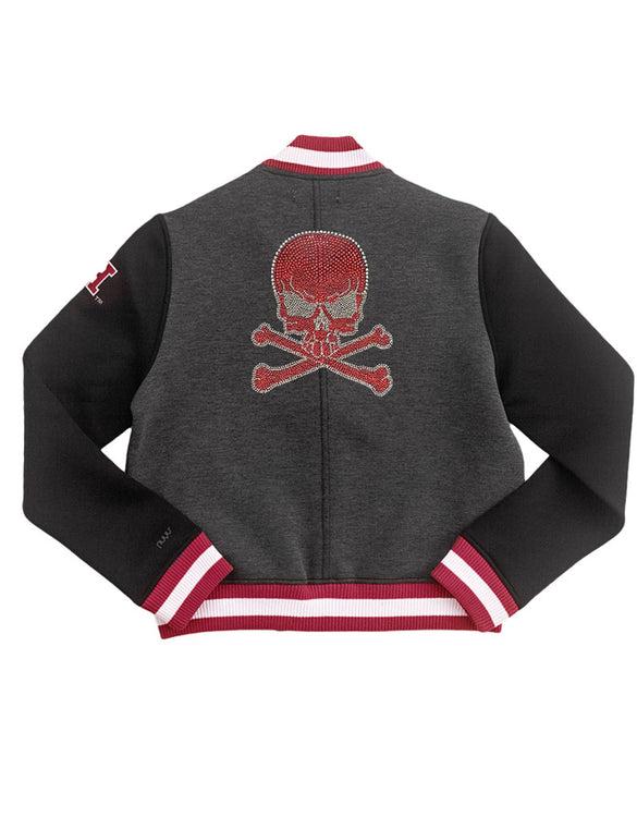 Harvard Cropped Neoprene Varsity Jacket with Rhinestone Skull