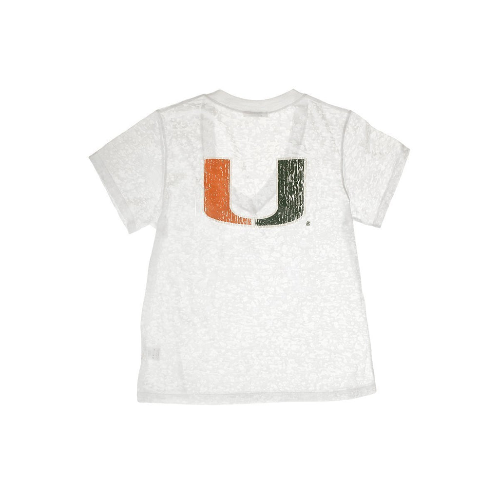 University of Miami Deep V-Neck Burnout Tee