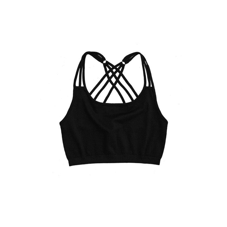 Criss Cross Back Bra with Ring Embellishment