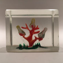 Early 1930s Chinese Art Glass Paperweight Sulphide Birds In A Tree Faceted Block