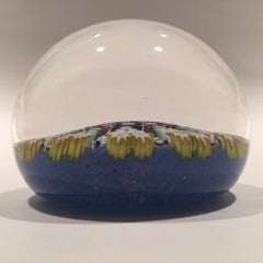 Vintage Perthshire Art Glass Paperweight 11 Spoke Twists & Millefiori on Blue