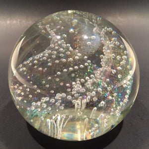 Signed Tom Philabaum Modern Art Glass Paperweight Dichroic Bubble Twist