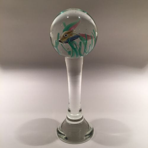 "Huge 9"" Footed Murano Cenedese Aquarium Fish Art Glass Paperweight Sculpture"