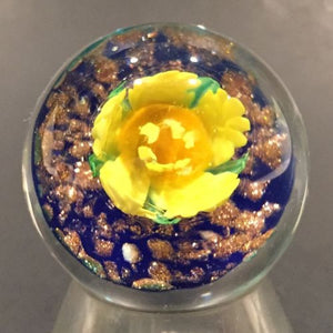 Handmade Al Janelle Art Glass Marble Lampworked Yellow Flower Marble