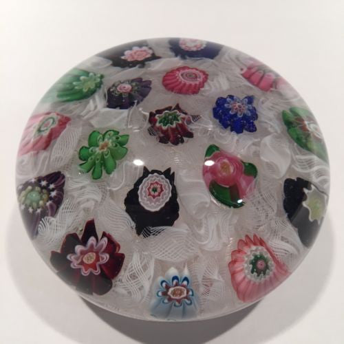 Rare Antique Clichy Art Glass Paperweight Chequered Complex Millefiori W/ Rose