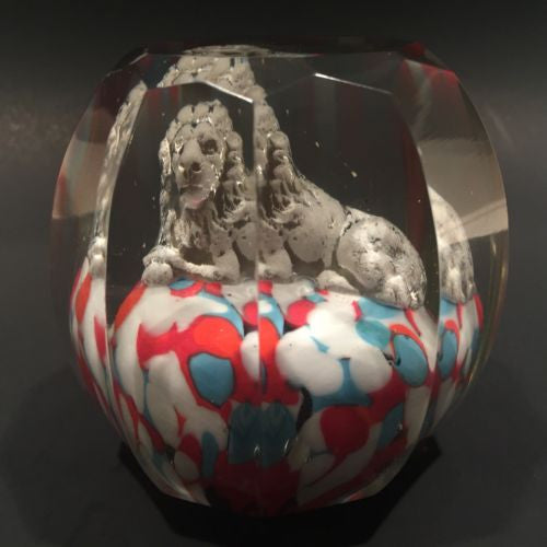 Antique Bohemian Art Glass Paperweight Melon Faceted Lion Sulphide