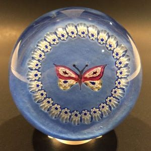 Rare Caithness Art Glass Paperweight Butterfly With Millefiori Garland